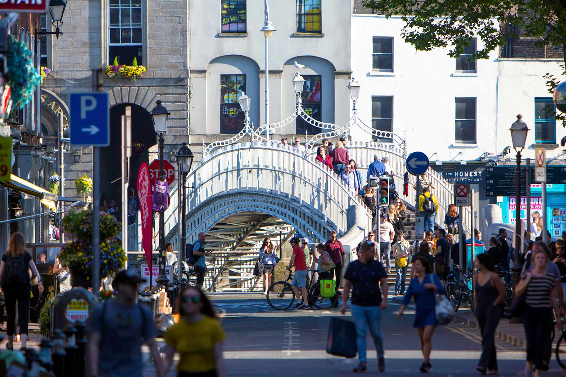 Hapenny Bridge and Liffey Street Dublin