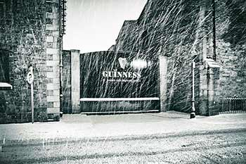 St James Gate Guinness Brewery in Dublin during winter snow