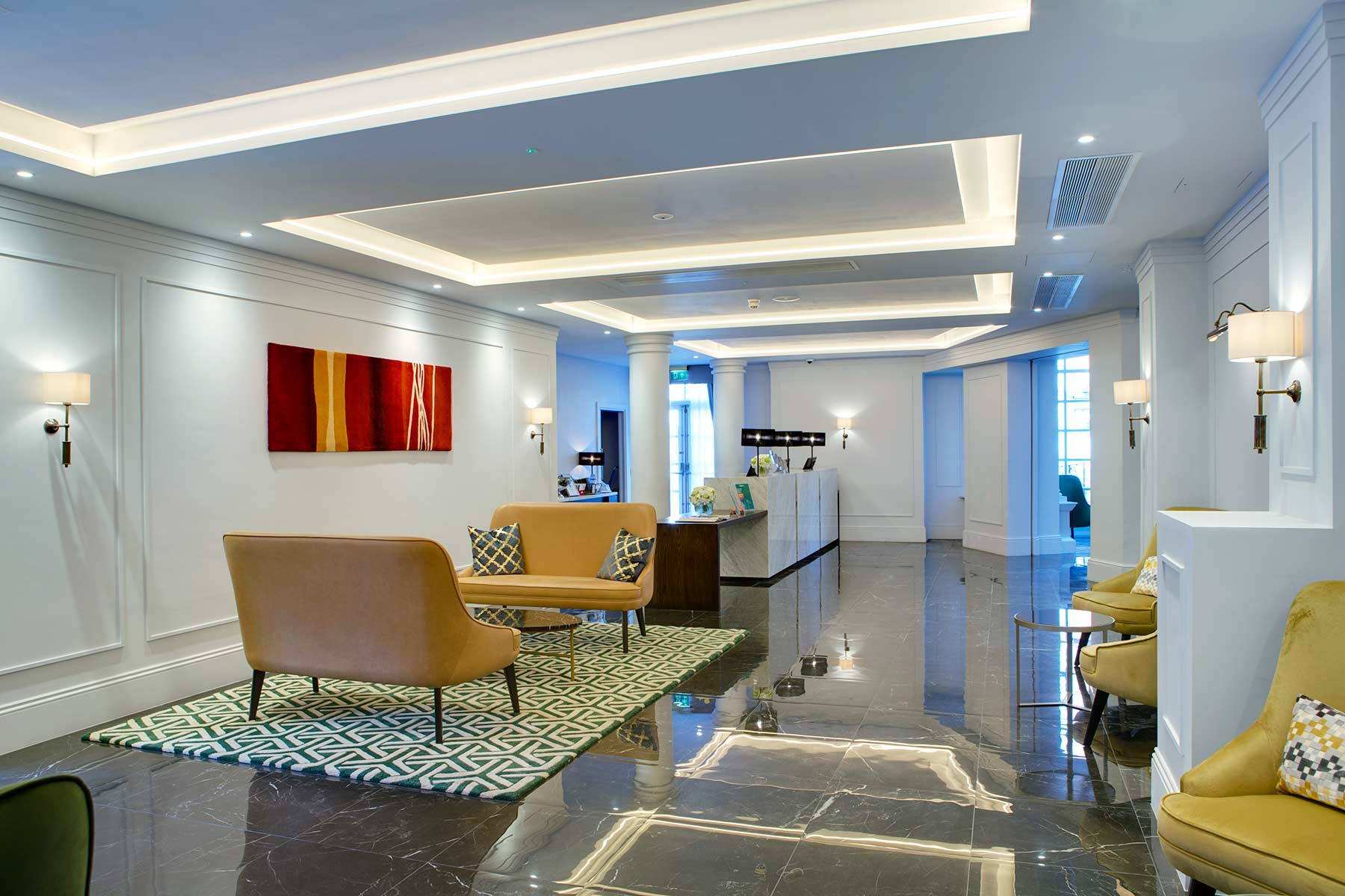 Hotel reception area and lobby