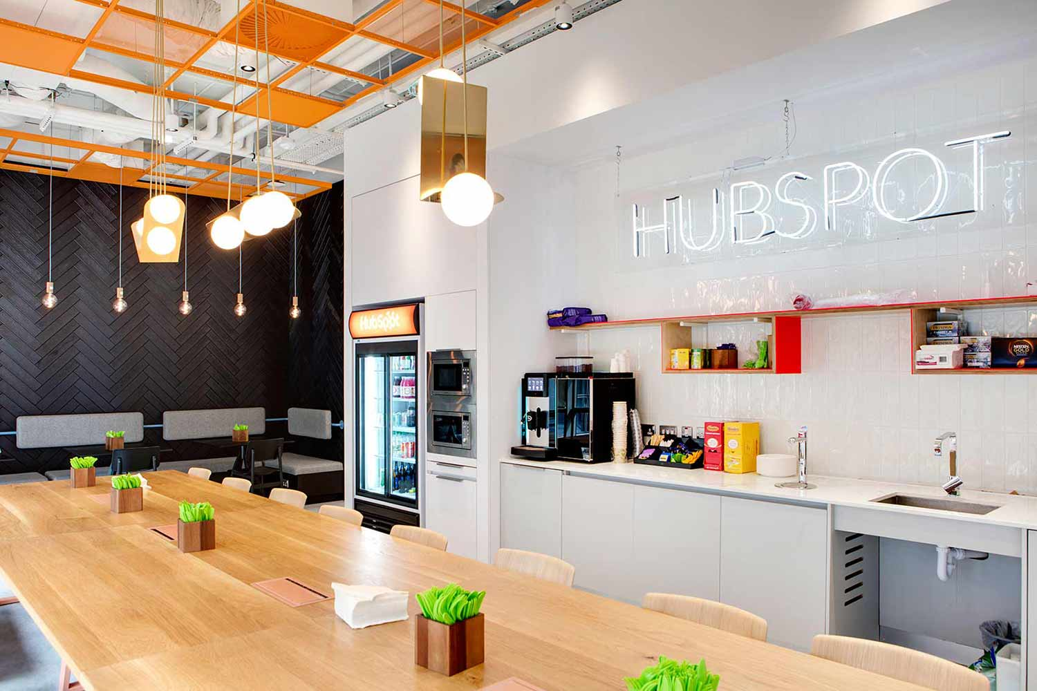 Cool office kitchen interior design and neon sign